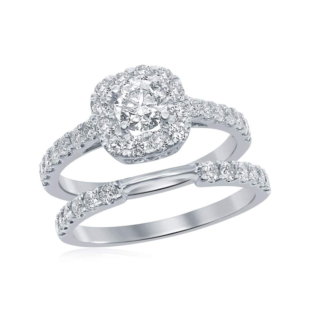 1.30CTW Halo Style Diamond Ring and Band Set