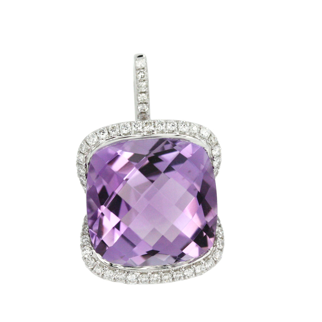 UNIQUE AMETHYST AND DIAMOND PENDANT