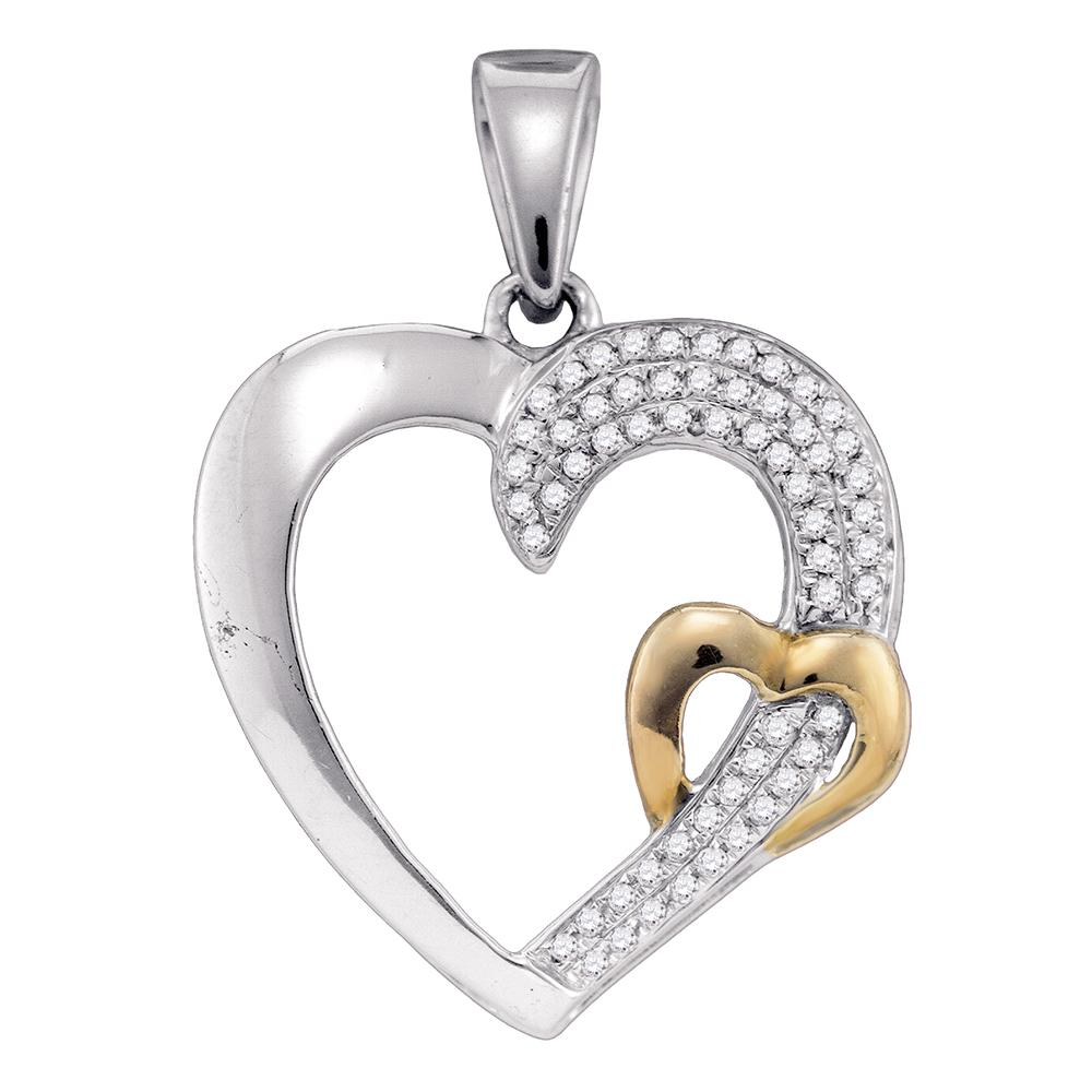 2 TONE PAVE MY HEART IS YOURS PENDANT