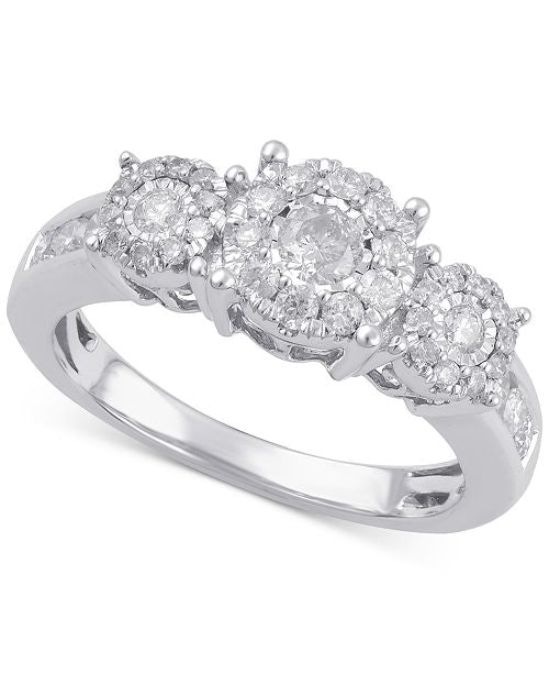 1 CARAT PAST PRESENT FUTURE DIAMOND RING