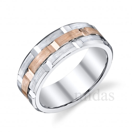 18KT Gold Two Tone Diamond Band  A005