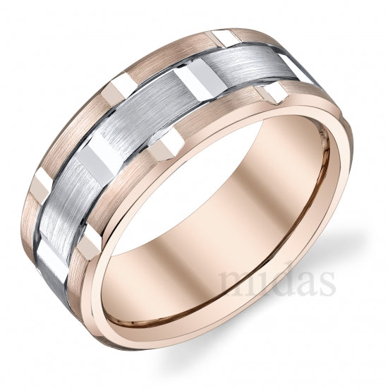 18Kt Two Tone Band  A008