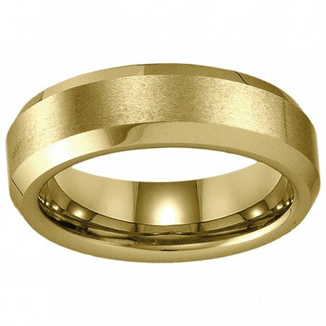 Gold Plated Tungsten Bevelled Polished Edge Center Matte Finish Band