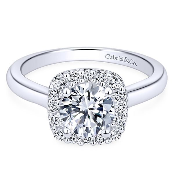 1 Carat Total Sparkling Diamond Halo Engagement Ring
