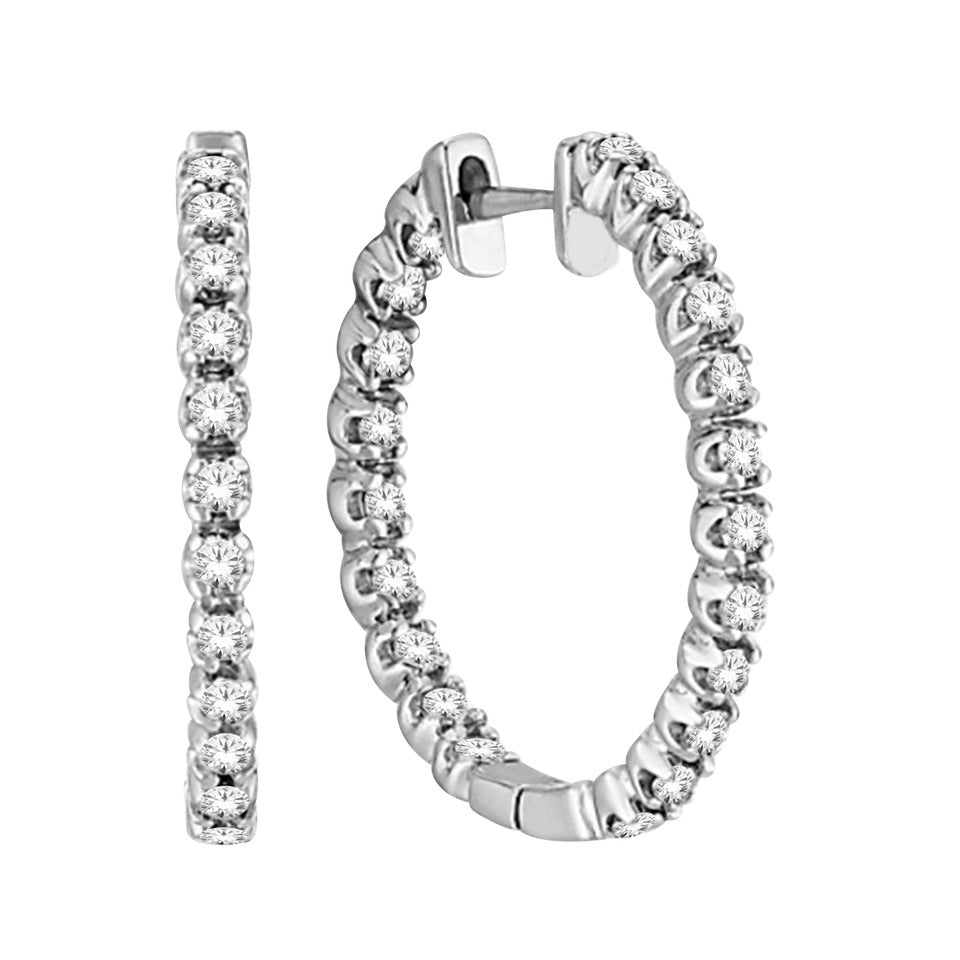 1 CARAT INSIDE OUT DIAMOND HOOP EARRINGS
