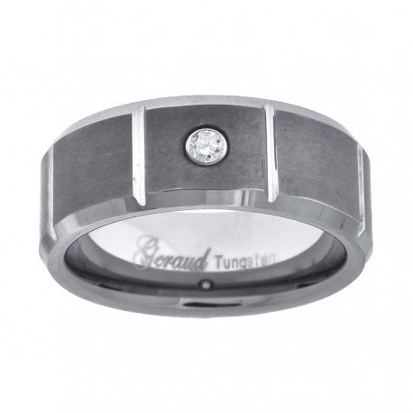 3D Brick Design Tungsten Band with Center Cubic Zirconia Matte Finish Band