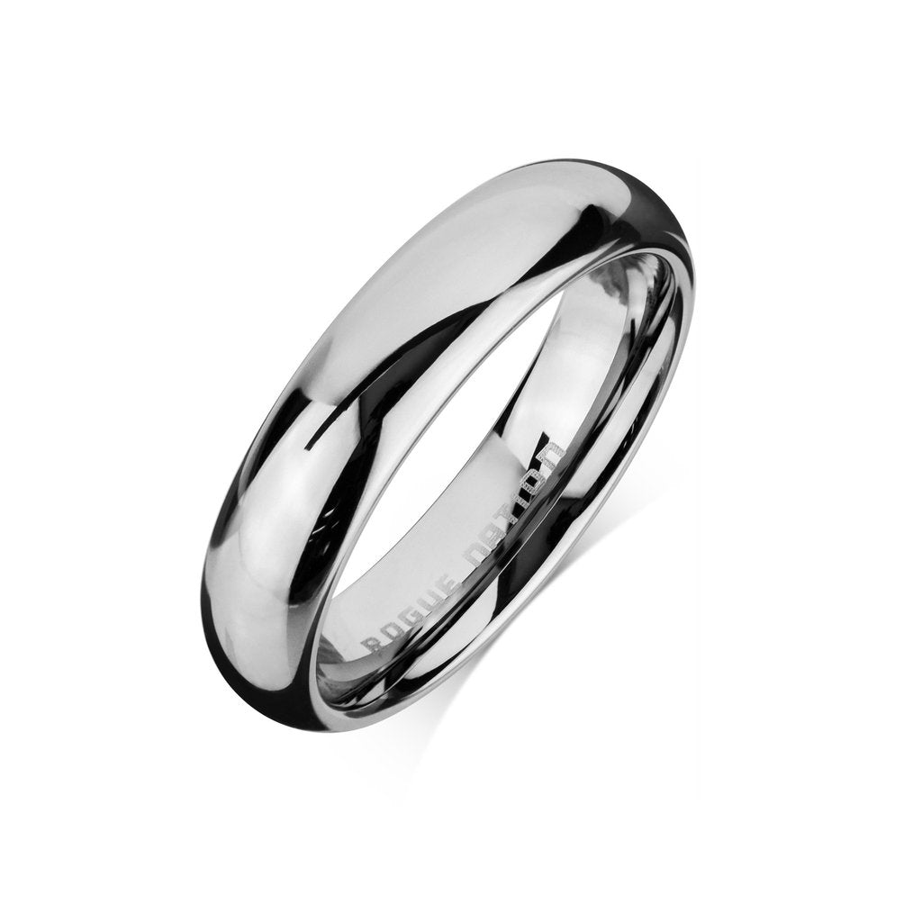 Tungsten 4mm Wide Domed Polished Band