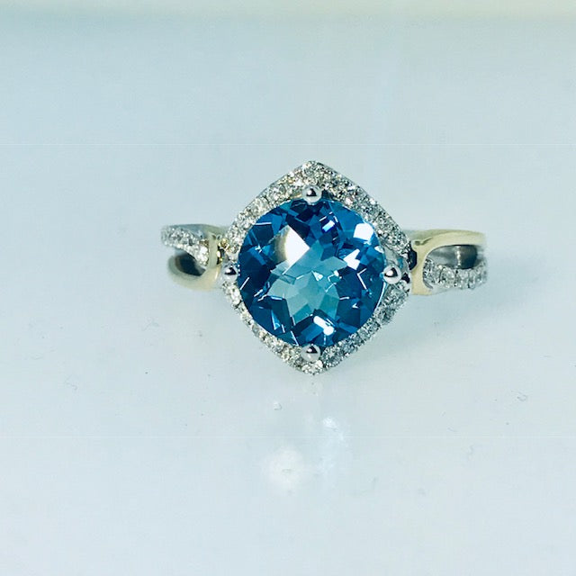Custom Made Blue Topaz and Diamond Ring