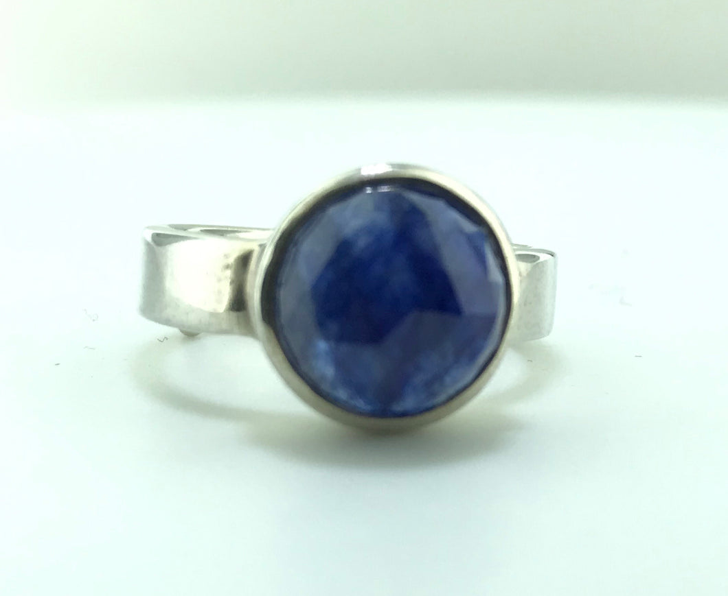 Round Fancy Cut 6 Carat Sapphire Ring in Silver