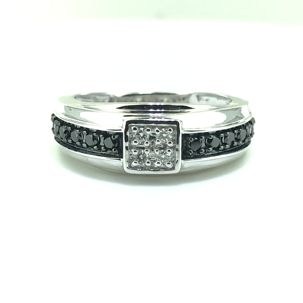 Black and White Diamond Band 1/2 Carat Total