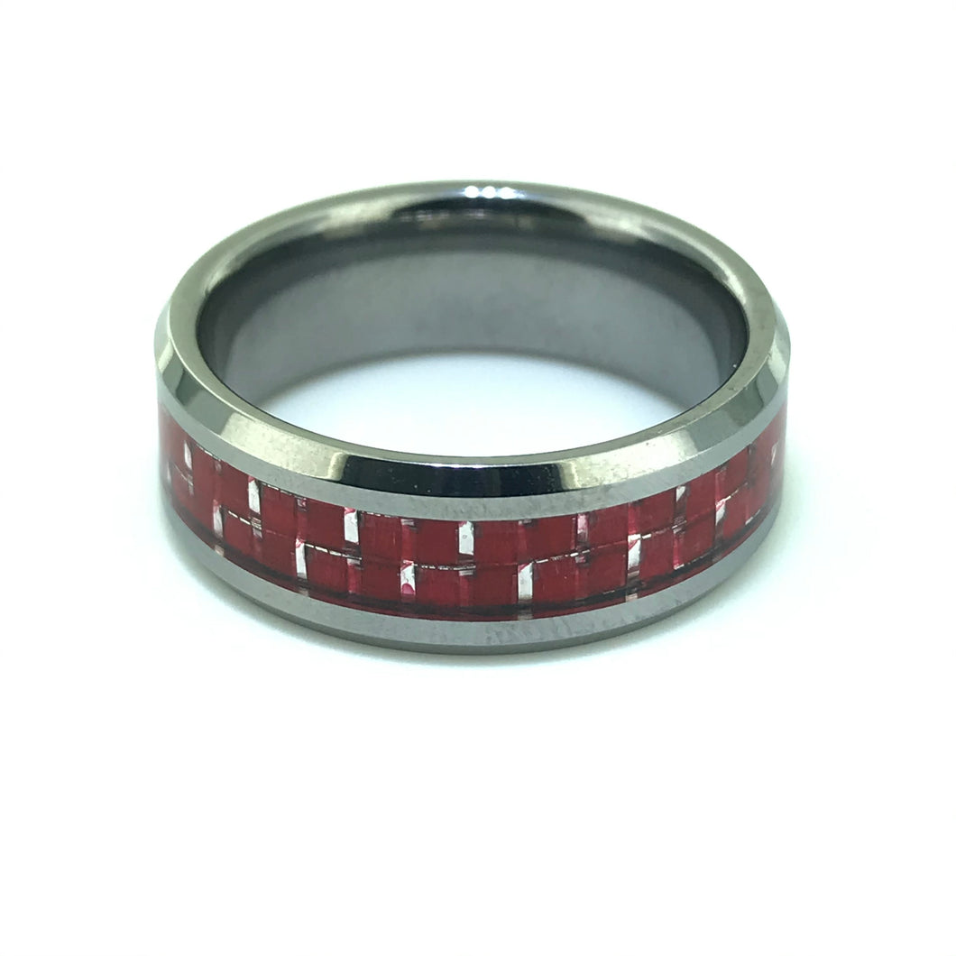 Tungsten Band with Cherry Red Carbon Fibre Bevelled Edge