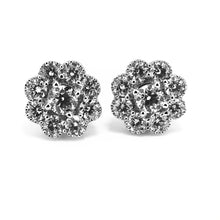 Load image into Gallery viewer, Mill Grain Edge Diamond Cluster  Earrings