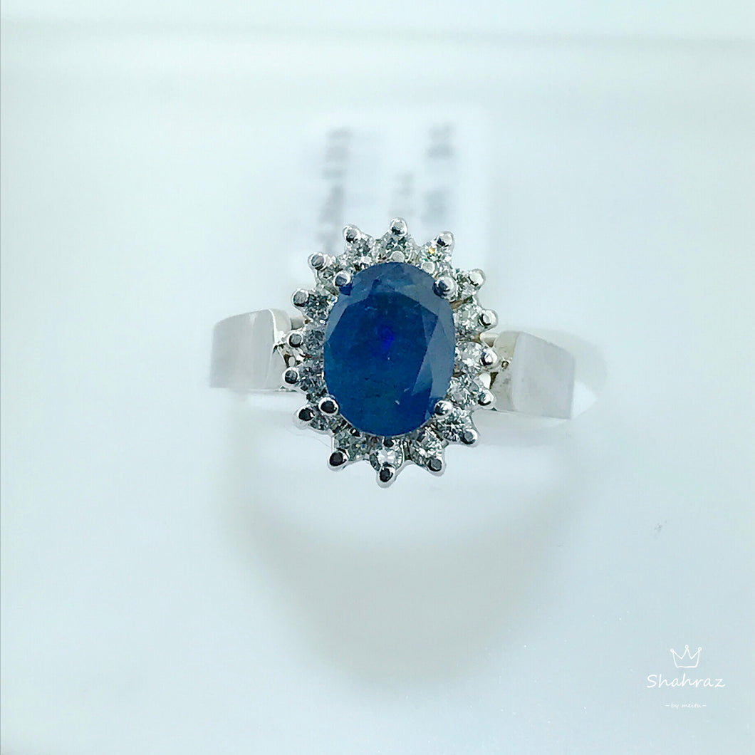 Oval Cut Sapphire and Diamond Princess Style Ring