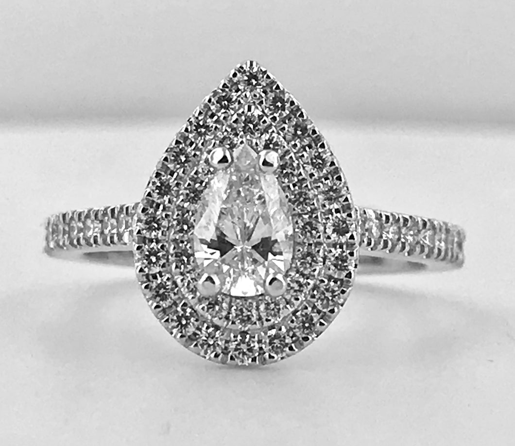 Pear Cut Double Halo Diamond Ring