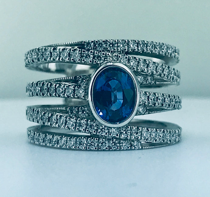 CUSTOM MADE TANZANITE AND DIAMOND RING