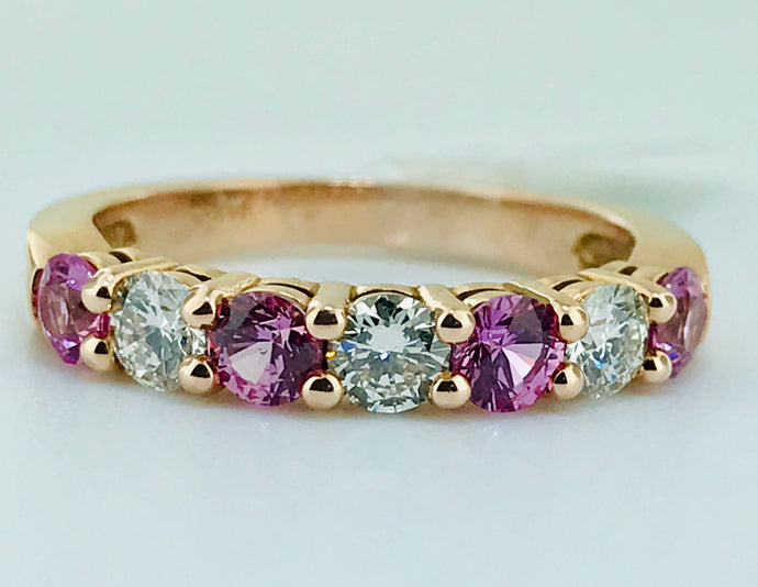 CUSTOM MADE PINK SAPPHIRES AND DIAMONDS IN ROSE GOLD