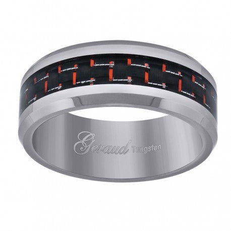 Tungsten Band with Dark Red Carbon Fibre Bevelled Edge