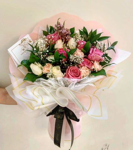 Peach & Pink Sorbet Bouquet- Fresh Flowers