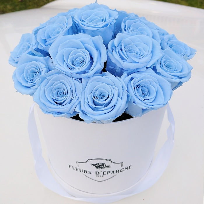 Original Rose Bucket (S) with Baby Blue Roses