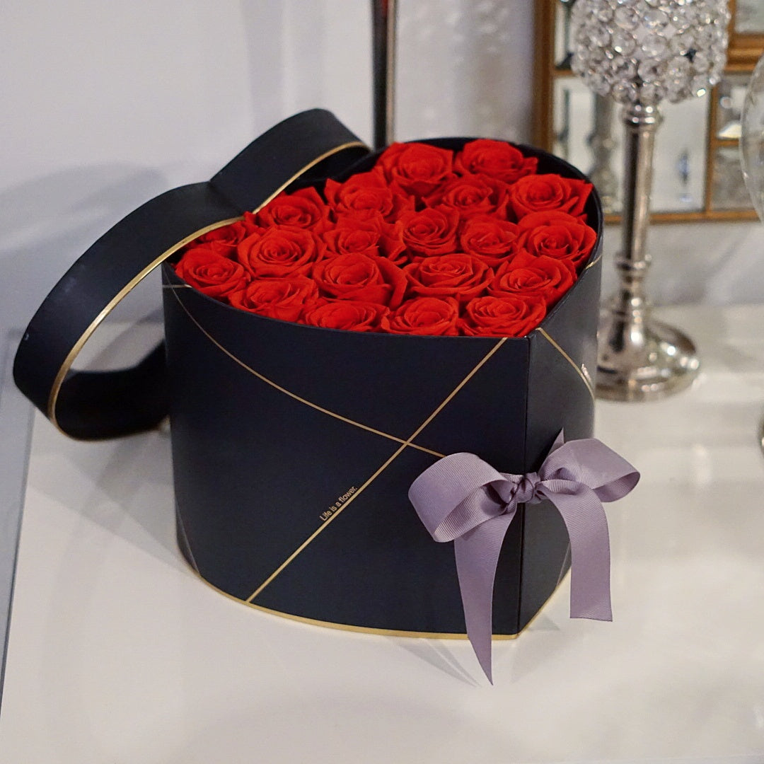 2 in 1 Signature Heart Box in Black with Red Roses - Special