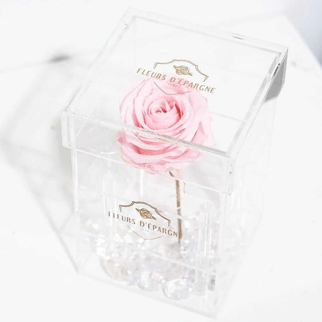 Purest Crystal Box with Long Stemmed 3 Year Rose