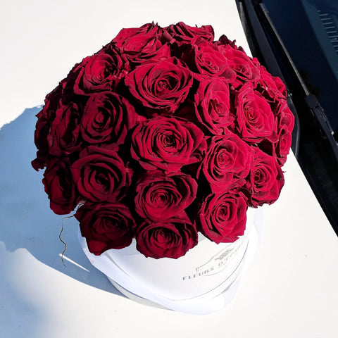 Red Velvet Romance Dome in Classic Rose Bucket
