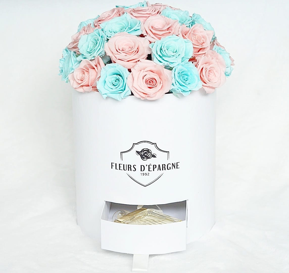 Classic Rose Bucket with Bonus Storage Drawer