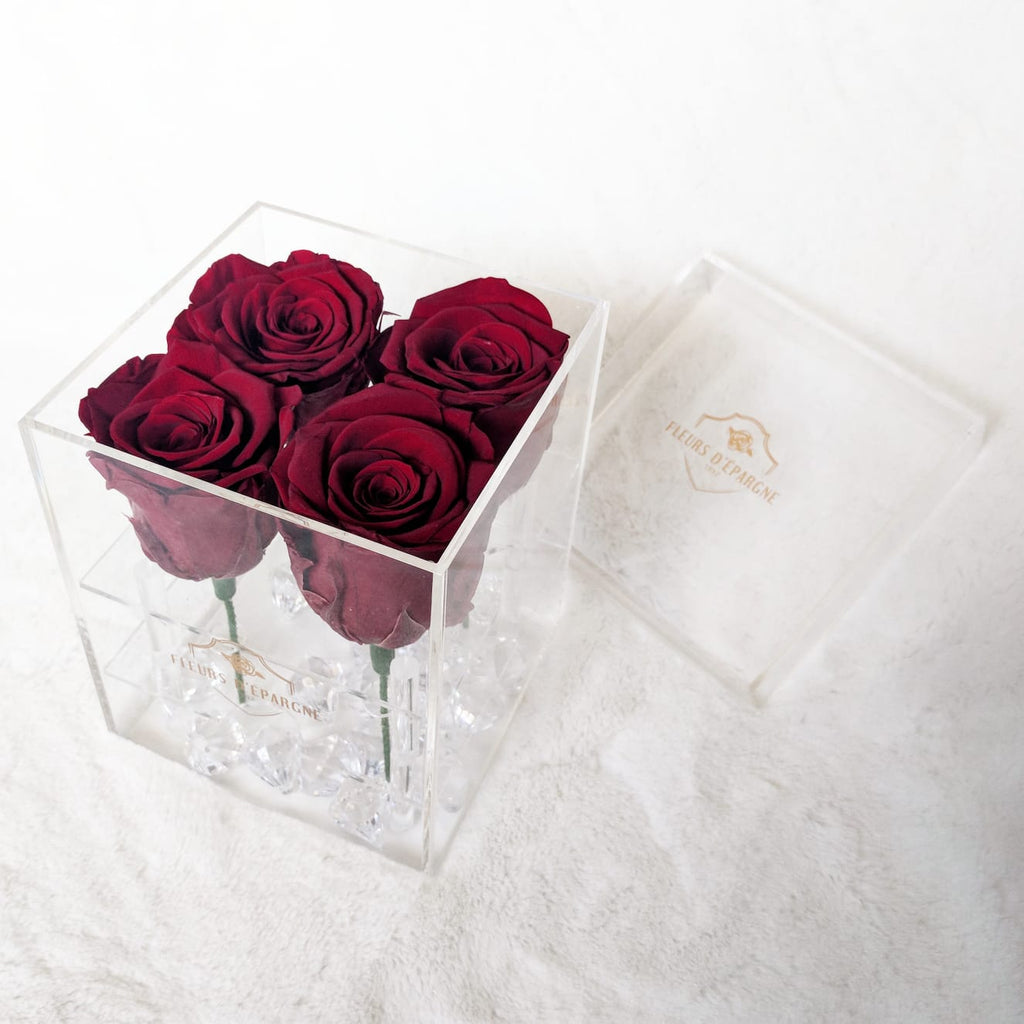 4 Rose Crystal Box - Roses Last up to 3 Years