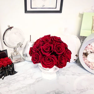 Dainty Flower Ball in Red Velvet Roses