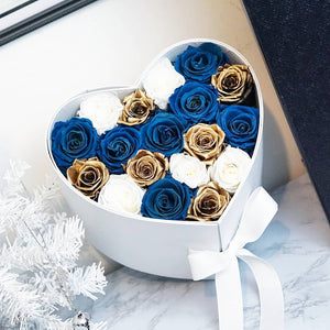 Winter Blues in Keepsake Heart Box