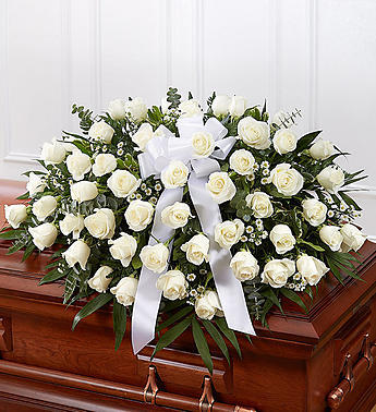 White Rose Casket Spray-Fresh Flowers