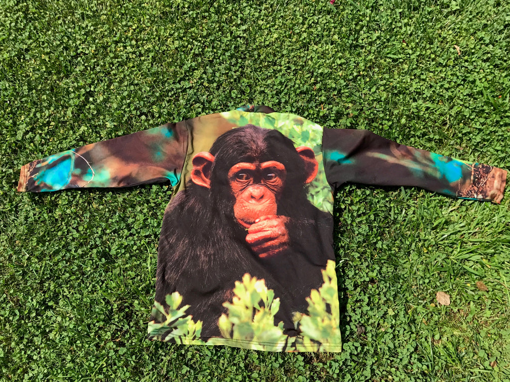 Monkey Long Sleeve Crew Neck- Sun Protective Shirt UPF 50+