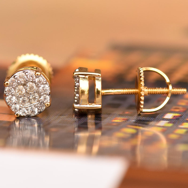 14k Yellow Gold Cluster CZ Earrings