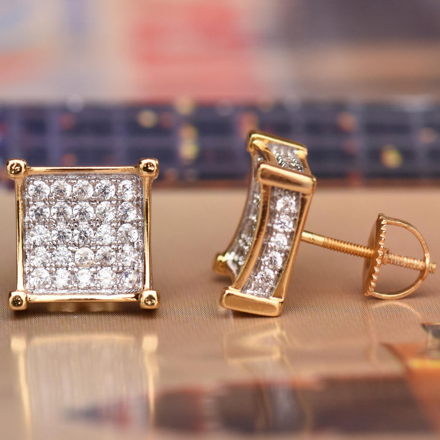 Yellow Gold Finish CZ Kite Earrings