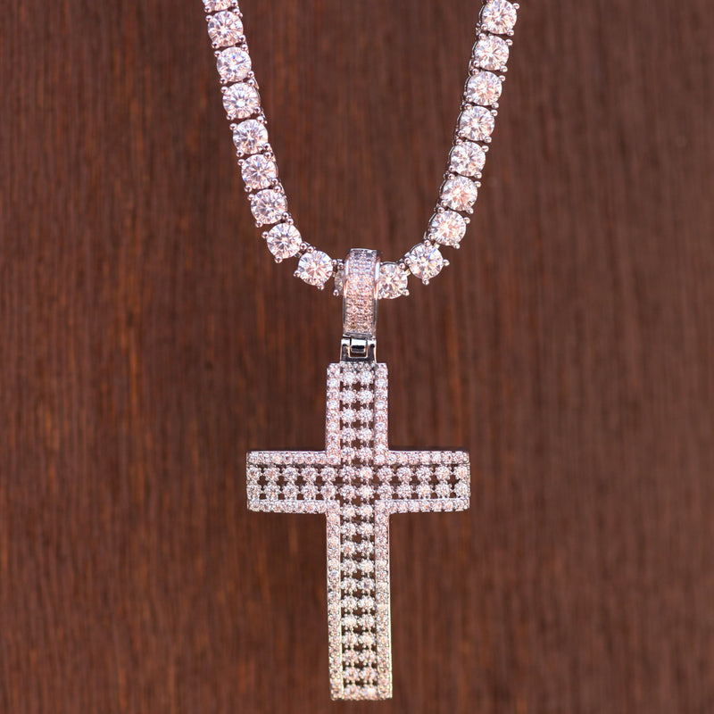 2 Row Cross New Religious Pendant 14k White Gold Finish With Tennis Chain