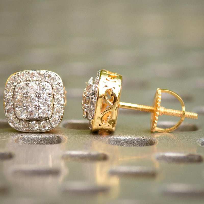 14k Yellow Gold Finish 3 Row Layered CZ Earrings