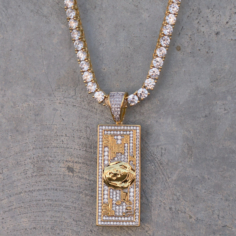 100 Hundred Dollar Bill Pendant 14k Yellow Gold Finish With Tennis Chain