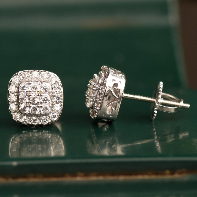 14k White Gold Finish 3 Row Layered CZ Earrings