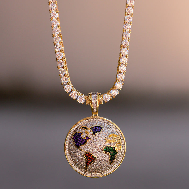 14K Yellow Gold Finish World Globe Pendant With Tennis Chain