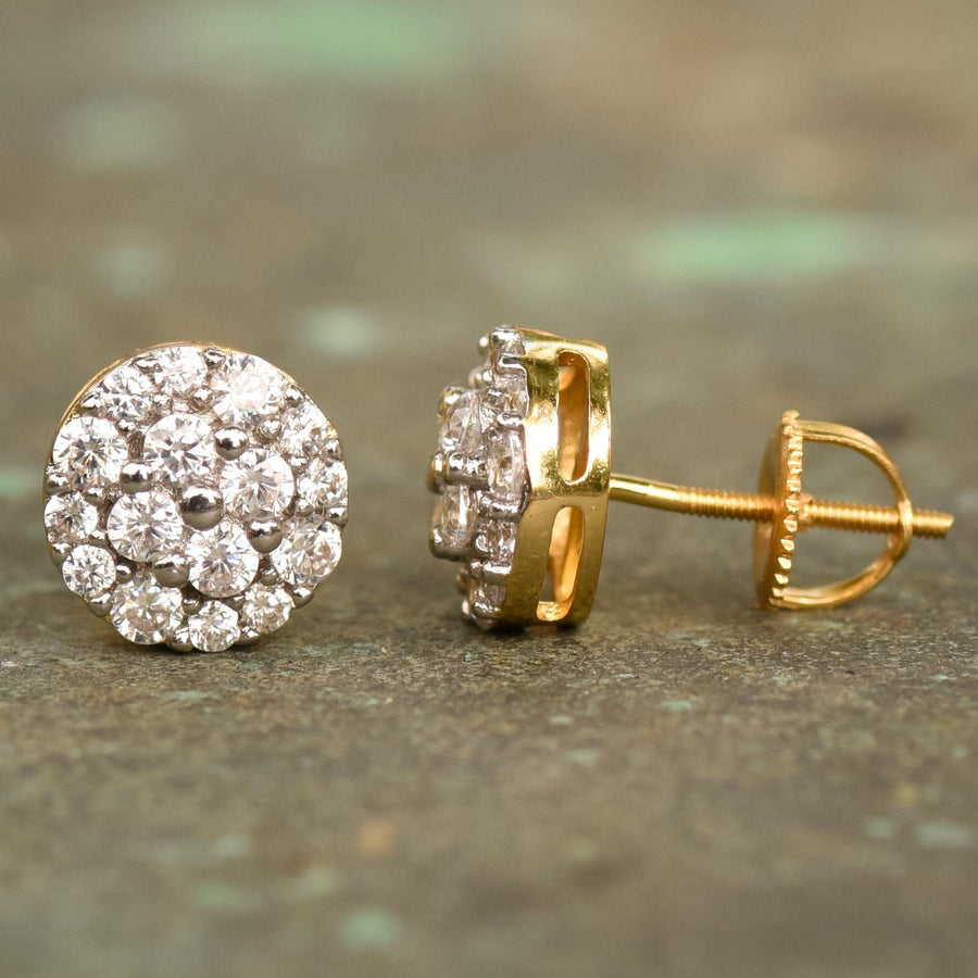 Solitaire Cluster CZ Designer Earring 14k Yellow Gold Finish