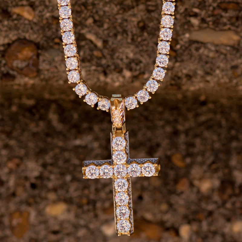 14K Yellow Gold Finish 3D Pyramid Cross Pendant With Tennis Chain