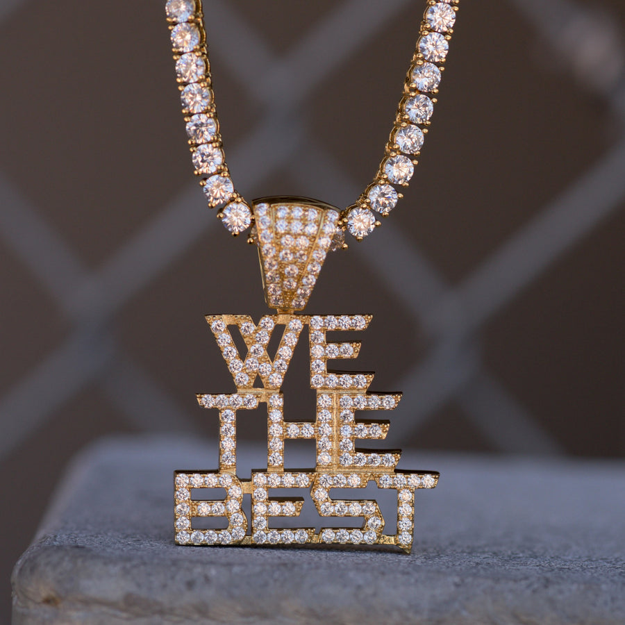 We The Best Music Group Pendant Fully Iced Out 14k Yellow Gold Finish With Tennis Chain