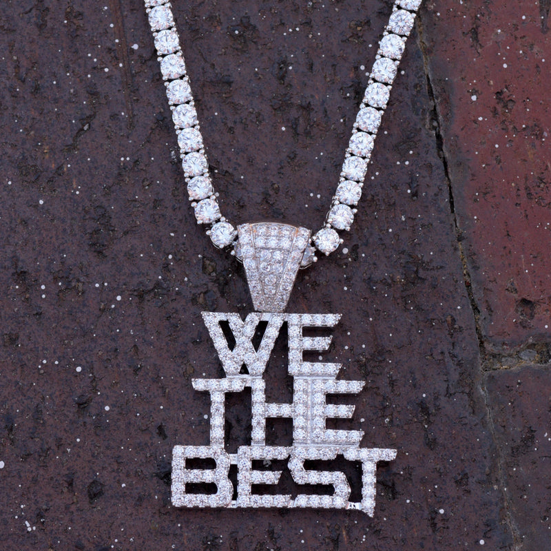 We The Best Music Group Pendant Fully Iced Out 14k White Gold Finish With Tennis Chain
