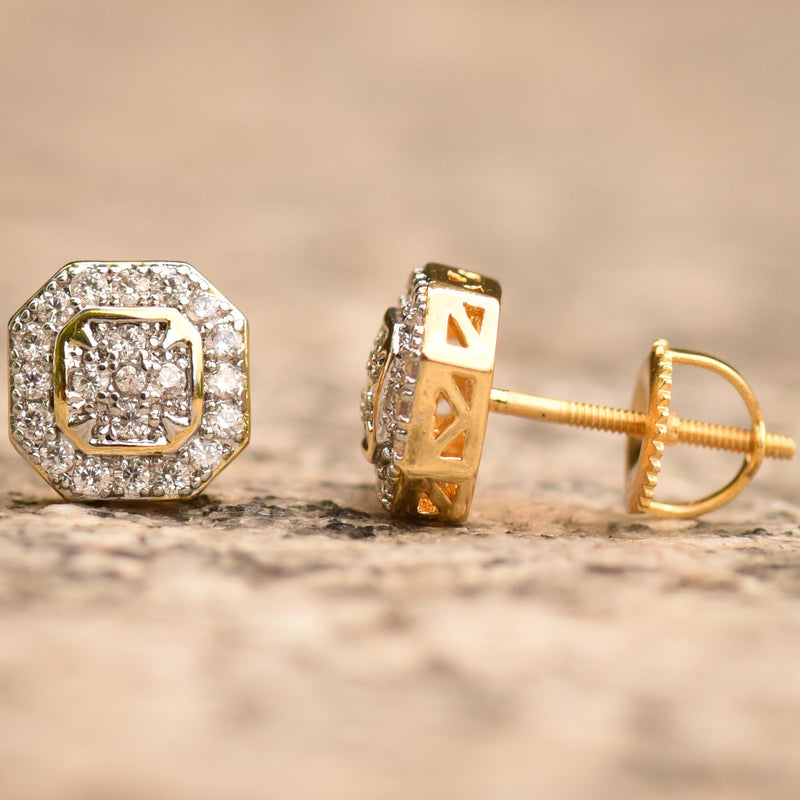 Octagon Iced Out Gold Tone Cz Earrings