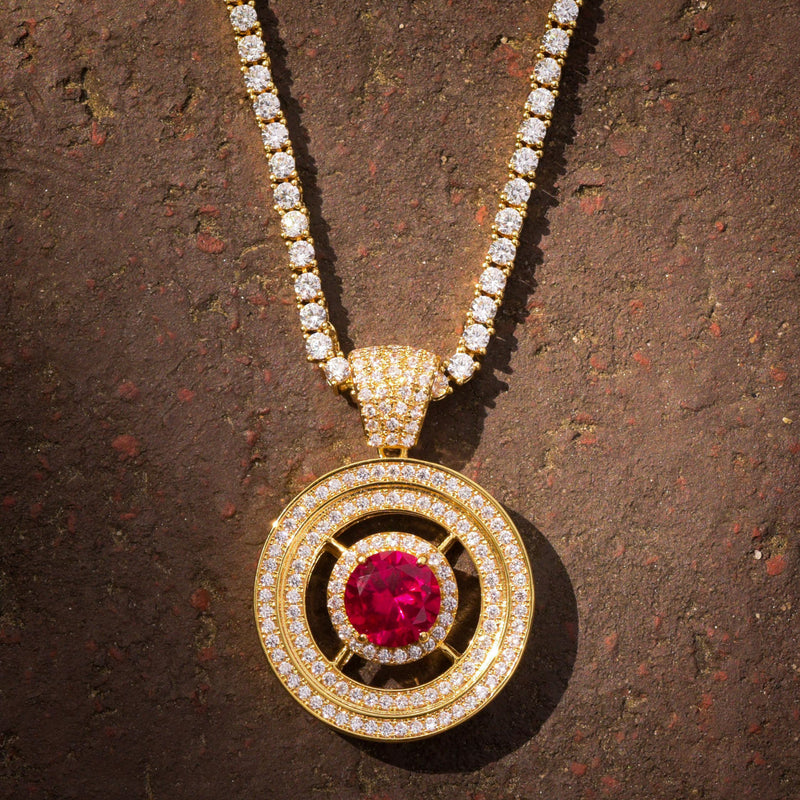 Red Ruby Style Round Medallion Pendant 14k Gold Finish With Tennis Link chain