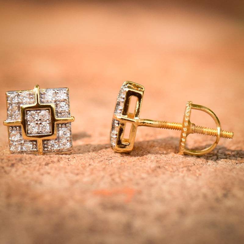 Designer Square 8mm Iced Out Gold Tone Earrings
