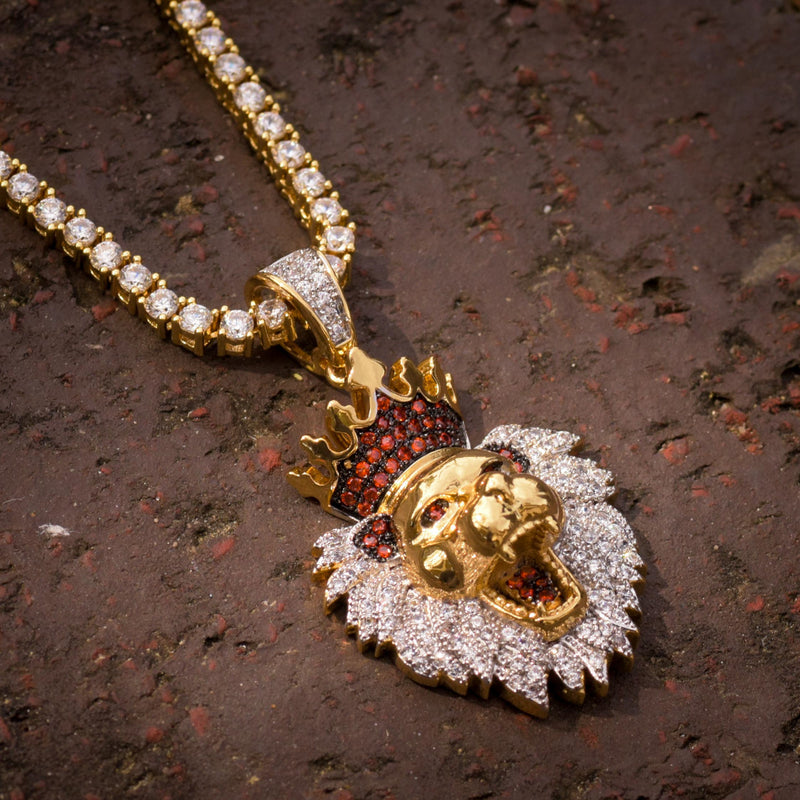 Lion King Face Pendant 14k Yellow Gold Finish With Tennis Link Chain