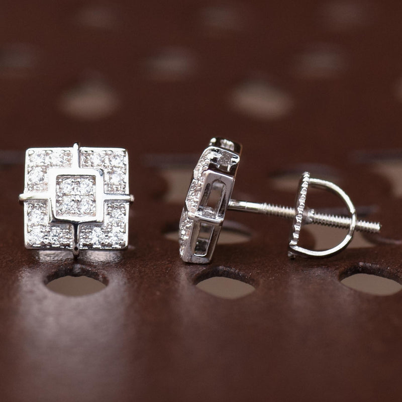Designer Square 8mm Iced Out White Tone Earrings