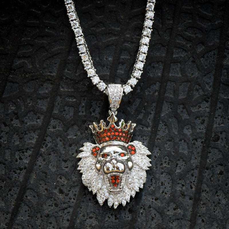 Lion King Face Pendant 14k White Gold Finish With Tennis Link Chain