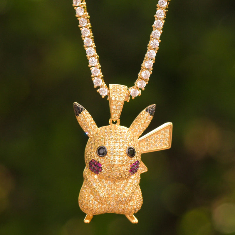 Designer Pokemon Fully Iced Out Pendant Over 14k Yellow Gold Finish